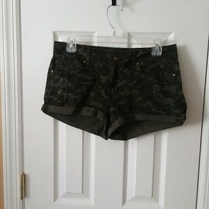 Forever 21 Distressed Camo Shorts